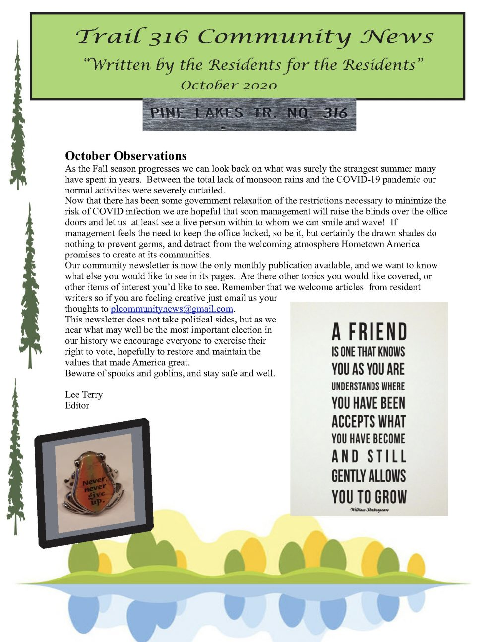 Title page of Trail 316 October 2020 Newsletter